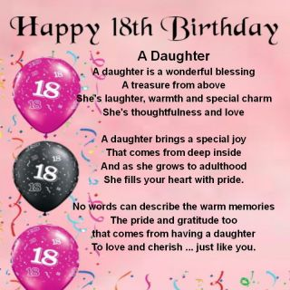 Personalised Coaster Daughter Poem 18th Birthday Free Gift Box