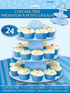 Blue Polka Cupcake Stand 1st Birthday Boy Baby Shower Cake Decorations Tree