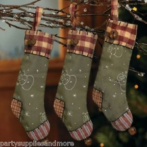 6 Rustic Country Christmas Stocking Ornaments Gingham Patchwork Jingle Snowman