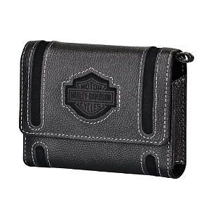 New Harley Davidson Black Leather Case w Chain Phone Camera GPS iPhone Droid
