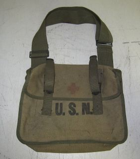USN First Aid Medical Satchel Shoulder Pack Bag WWII Corpsman Pocket Case Early