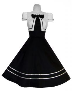 Hearts Roses Black White Bow Long Dress Rockabilly Prom 50's Swing