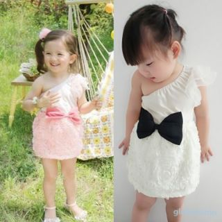 New Kids Girls Bow Knot One Shoulder One Piece Dress Lace Skirts Costume 1 7Y