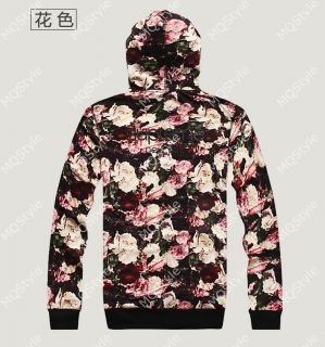 Mens Casual Flower Print Long Sleeve Hip Hop Stylish Hoodie Coat Jacket N532