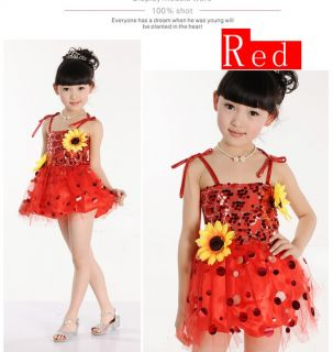 New Girls Party Latin Tutu Costume Dance Dress 4 13Y Performance Clothes DS003