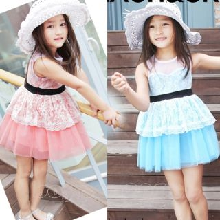 New Kids Toddlers Girls Party Pinks Blue Color Sleeveless Tutu Dress AGES2 7Y