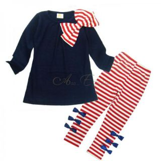 Girl Kid Long Sleeve Top Shirt Bowknot Striped Leggings Suit Set 2 7Y Outfit