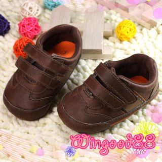 Kids Children Infant Toddler Baby Boy Brown Walking Velcro Shoes Size 3 New