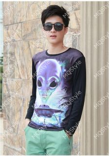 Mens Casual Crewneck UFO Alien Splice Long Sleeve Hip Hop Stylish T Shirts N516