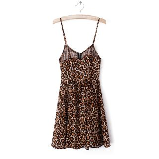 New Womens European Fashion Leopard Print Strape Sexy Mini Dress B2505FL Size M