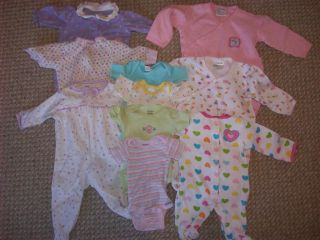 10 PC Lot Baby Girl Newborn Sleepers Onesies Carter's Gerber Infant Clothes