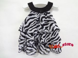 Baby Kid Toddler Girl Chiffon Dress Clothes Pettiskirt Tutu Zebra Outfit 0 4Y