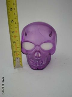 Purple Skull w Multicolor Lights Fake Halloween Table Decoration Prop Used