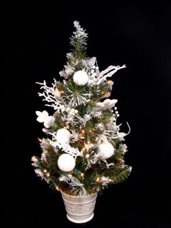 "30"" Pre Lit Decorated Flocked Snow Pine Artificial Christmas Tree Clear Lights"
