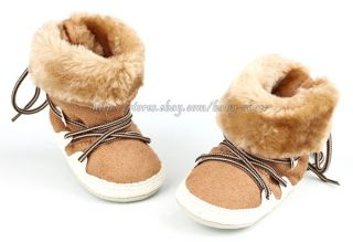 Baby Girls Boys Winter Boots Chestnut Faux Fur Shoes Size Newborn to 18 Months