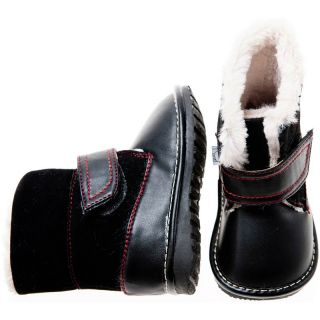 Girls Boys Toddler Childrens Leather Suede Squeaky Boots Black with Fleecy Inner