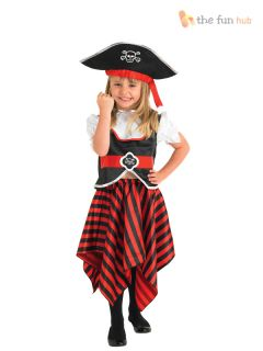 Girls Caribbean Pirate Outfit Book Week Fancy Dress Childs Toddler Kids Costume