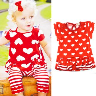 Kids Baby Girls Top Pants 2pcs Red Hearts Striped Outfits Costume Clothes 0 3Y