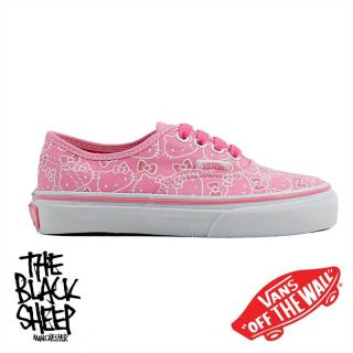 Vans Authentic Hello Kitty Pink True White Kids Toddler Plimsole Trainers Shoes
