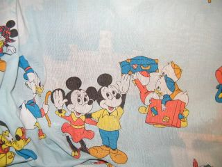 Vintage Disney Mickey Minnie Mouse Flat Fabric Bed Sheet Craft Material Donald