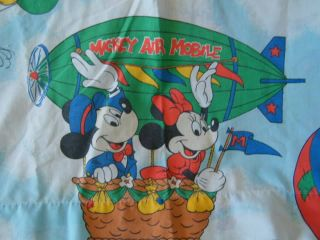 Vintage Disney Mickey Minnie Mouse Flat Fabric Bed Sheet Craft Material Balloons