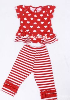Baby Kid Girl Toddler Heart Top Pants Striped Trousers Outfit Clothes 24 36M