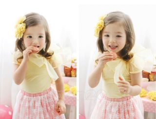 Details about Lovely Kids Toddlers Girls Baby Tulle Bow Cotton Short