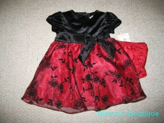 "New ""Burgundy Velvet Rose"" Dress Girls Baby 24M Christmas Boutique Clothes Party"