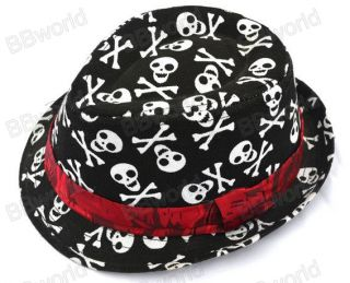 Kids Children Toddler Baby Boys Girls Fedora Skull Red Tan Black Checkered Hat