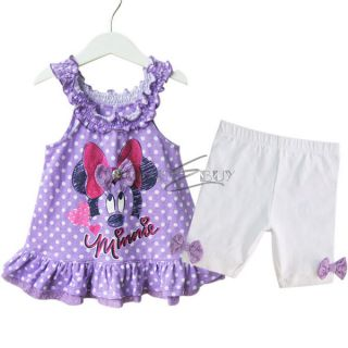 Girls Minnie Mouse Polka Dots Top Dress Kids Pants Legging Outfit 12 24 Months
