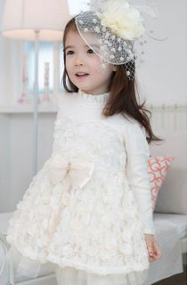 Girls Flower Party Wedding Birthday Princess Dress Long Sleeve Top Age 2 7 Y