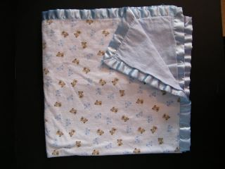 Carters Blue Brown Puppy Dog Flannel Baby Sec Blanket