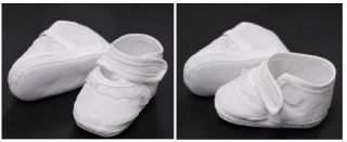 Baby Boy Girl Satin White Christening Wedding Shoe 0 3M