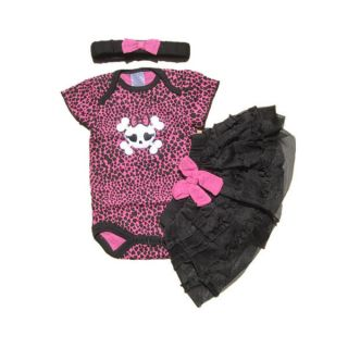 3pcs Baby Girl Headband Romper Skirt Bodysuit Outfit Sets Suit Clothes Tutu Pink
