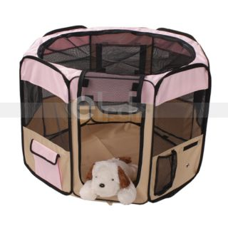 "New 35"" Pet Puppy Dog Large Playpen Kennel Exercise Pen Crate Pink"