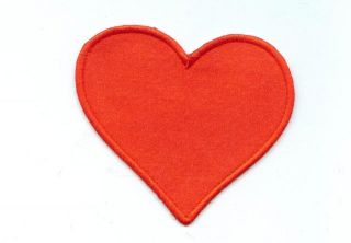 Beating Red Satin Heart Iron on Applique Patch 3 5 inch Tall