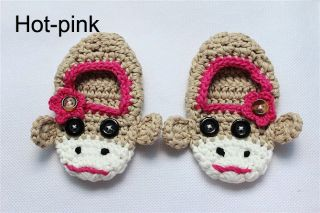 Cute Handmade Knit Shoes Newborn Baby Boy Photograph Blue Sock Monkey 3 Size