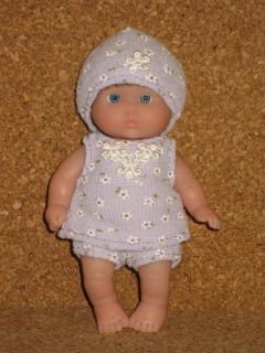 "OOAK Berenguer 5"" Itsy Bitsy Baby Girl Monique Brown Wig Blue Eyes Fabric Outfit"
