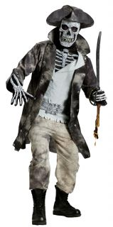 Ghost Pirate Adult Mens Costume Scary Bone Skull Zombie Theme Party Halloween