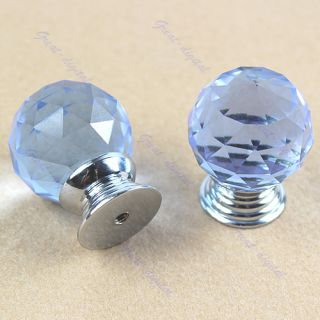 2 Crystal Knob Cabinet Pull Handle Drawer Door Wardrobe Hardware 30mm Purple