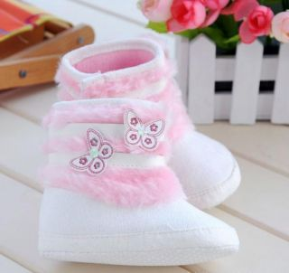 White Fur Winter Snow Boots Toddler Infant Baby Girls Warm Shoes US size3 S83
