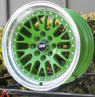 15x8 25 4x114 3 Green Machined Lip Wheel Fit Datsun 240Z 260z 280z Corolla AE86