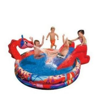 Slide N Spray Inflatable Dragon Swimming Pool Sprinkle