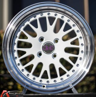 15x8 JNC 001 Classic 4x100 25 White Machined Lip Wheel Rim Old School JDM