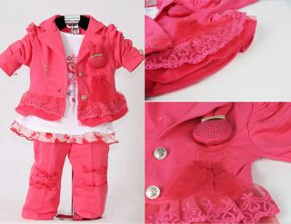 New 3pcs Baby Girls Kids Pink Clothes Coat T Shirt Pants Child Outfit Clothing