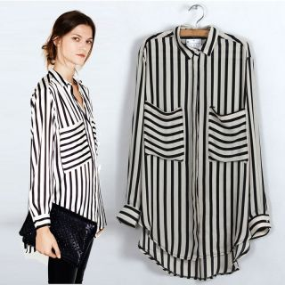 2013 New Fashion Chiffon Top T Shirt Blouse Black Striped TS05 Size L M S