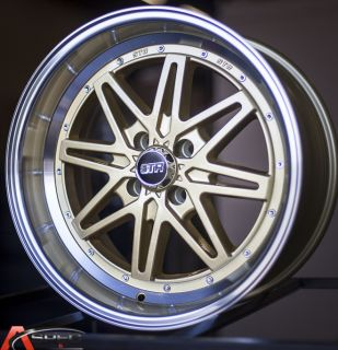 17x9 Str 505 4x100 22 Gold Wheel Fit VW Jetta Golf Cabrio Corrado BMW E30 2002