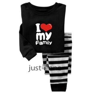 Baby Toddler Children Kids Boy Girls Cute Sleepwear Tops Pants Pajama Set 2 7Y