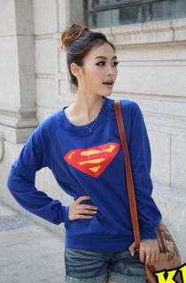 Korea Cute Women Girl Fashion Casual Superman Print Long Sleeve Blue T Shirt Top