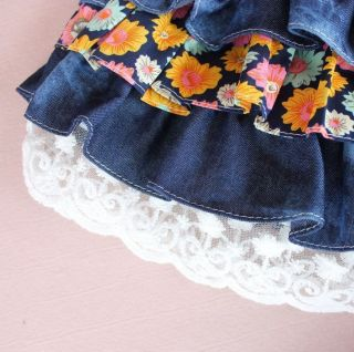Baby Girl Little Skirt Girls Pleated Denim Skirts Kids Cotton Lace Skirt Size 5T